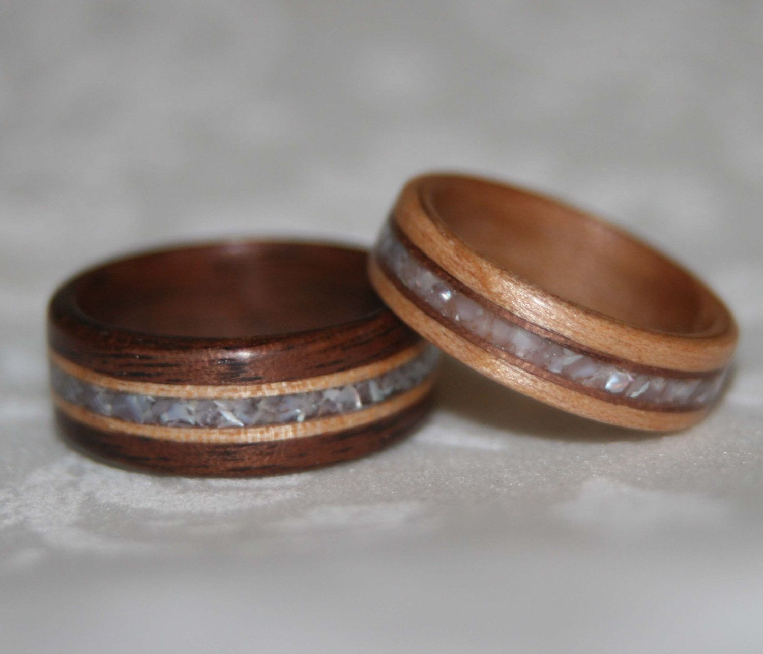 Wood Wedding Rings Using the Custom Woods and Stone of Your Choice