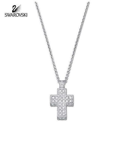 dadae2dea448f Swarovski Clear Crystal CROSS Pendant Necklace Rhodium Plated ...