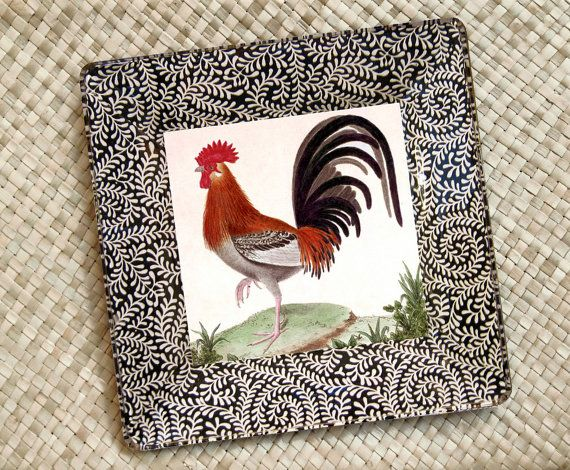 Roosters Kitchen Decor Rooster Plate By Glasspaperscizzors 89 00 Rooster Kitchen Decor Rooster Art Rooster Decor