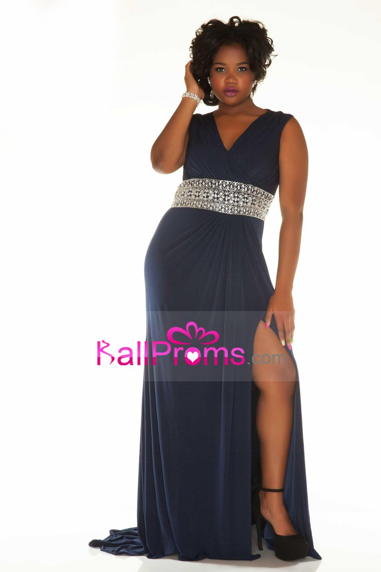 v neck prom dresses spandex with beads and slit sweep train