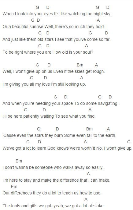 Jason Mraz I Wont Give Up Chords Capo 2 Music Pinterest