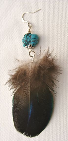 Four individual Turquoise stone earrings with flower end caps and velvety blue Peacock feathers. Finished with nickel free silver-plated ear-hooks. Each earring's feather and Turquoise stone is slightly different so if you have a preference please state which one when placing an order.