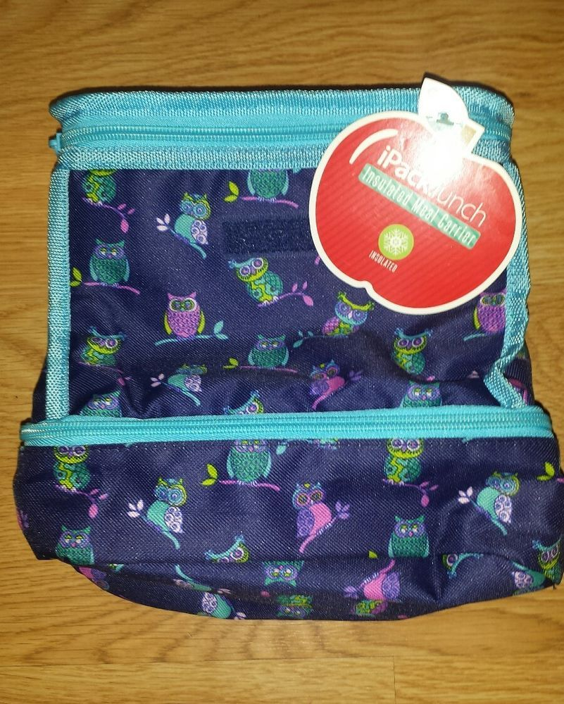 Ipack Lunch Box Sack Insulated Zipper Owl Purple Blue School Compartment