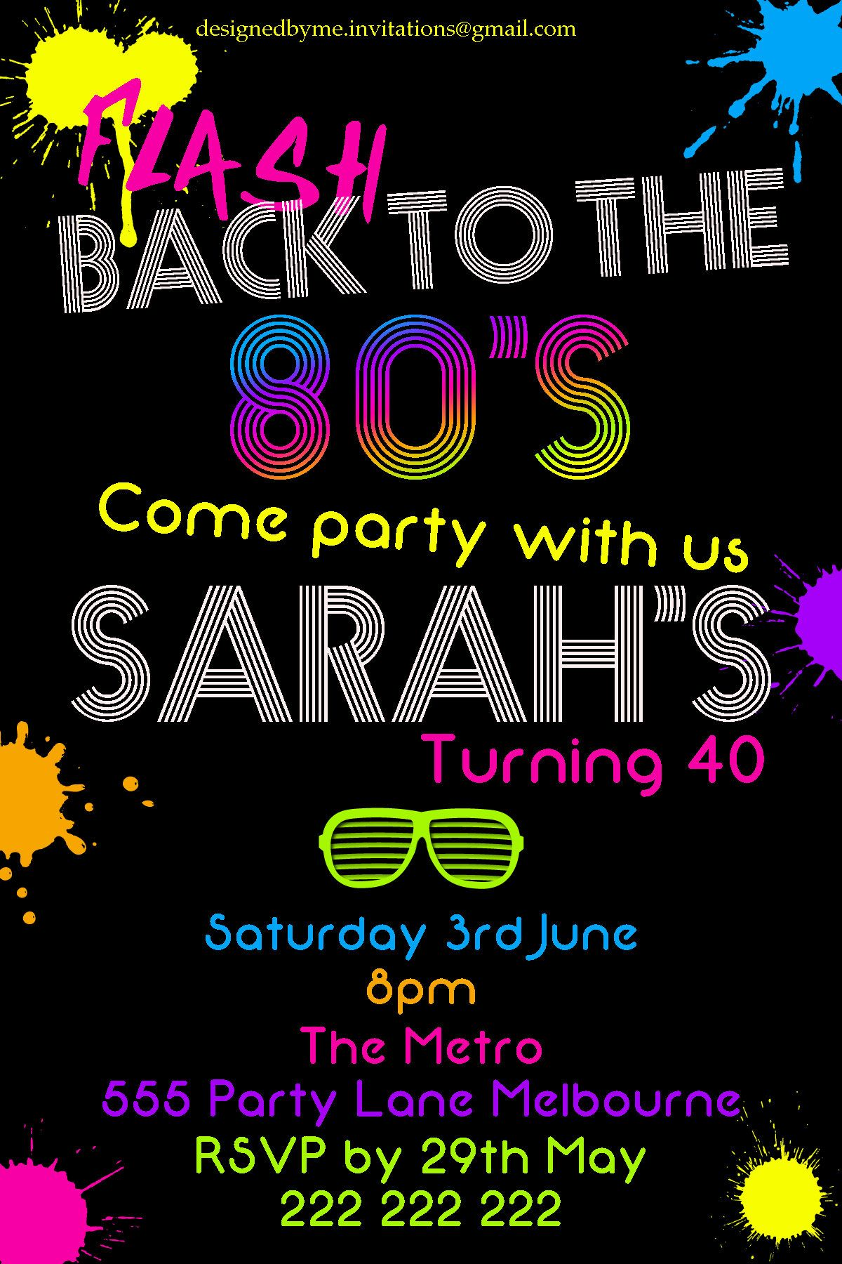 80\'s Neon Birthday / Party Invitation - DIY Printing - JPEG File ...