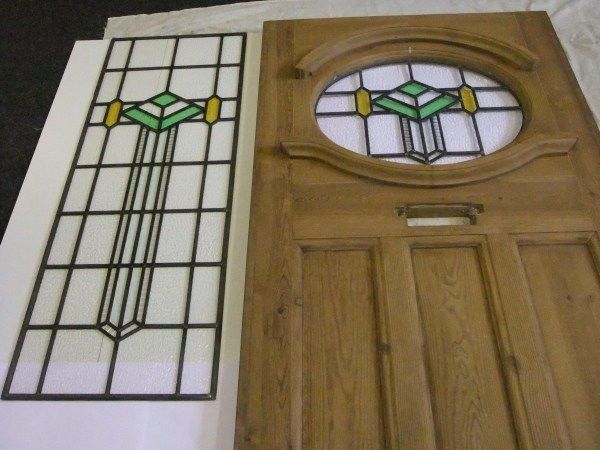 1930s Reclaimed Exterior Front Door With Stained Glass Circle With Side Window Stained Glass Door Exterior Front Doors Moldings And Trim