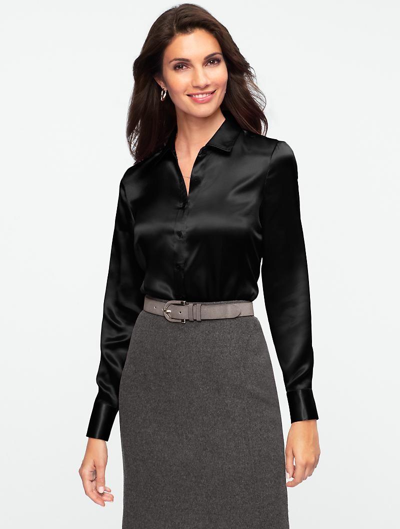 6680bd4528938 Talbots - Silk Charmeuse Shirt