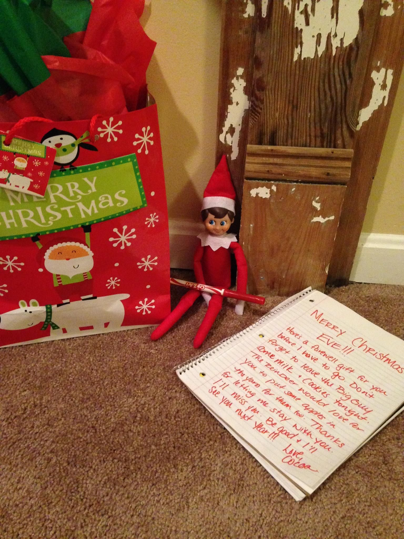 Elf's last night goodbye gift