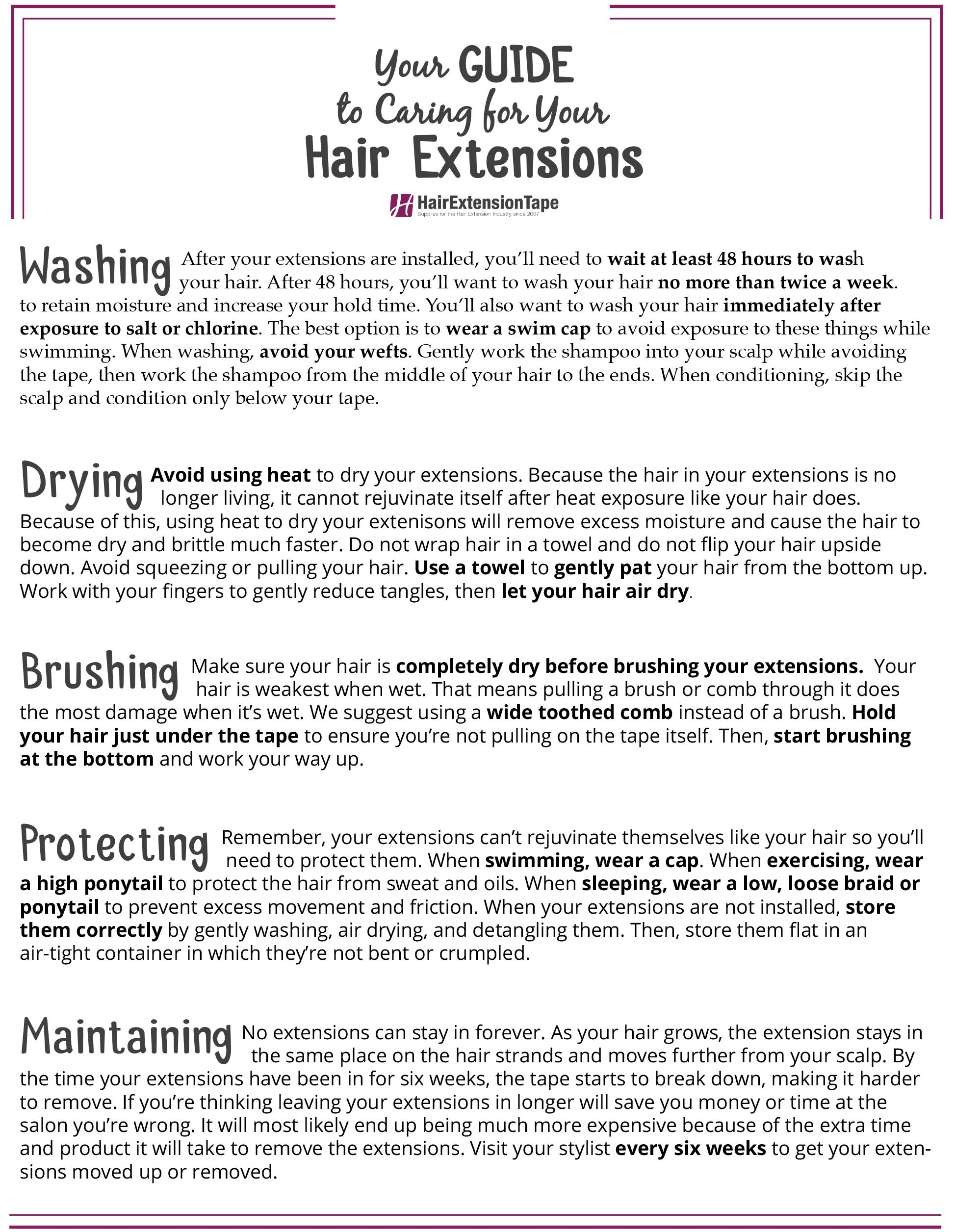 Tape In Hair Extensions Information Manual Guide