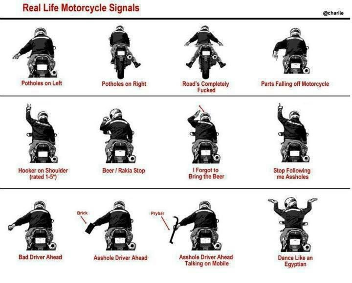 Motorcycle Signals Funny With Images Biker Quotes Bad Drivers