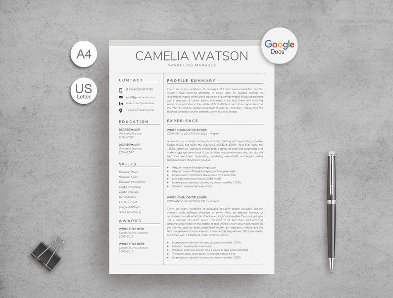 Google Docs Resume Template Google Docs CV Google