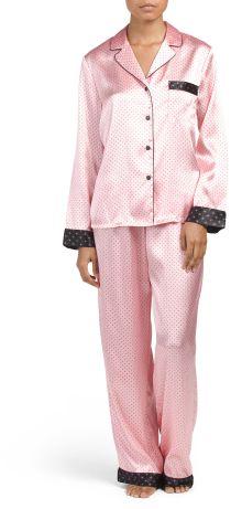 040553c28e9aa Pink Satin Pajama Set  24.99 At TJ Maxx Pink satin polka dot print contrast  trim chest