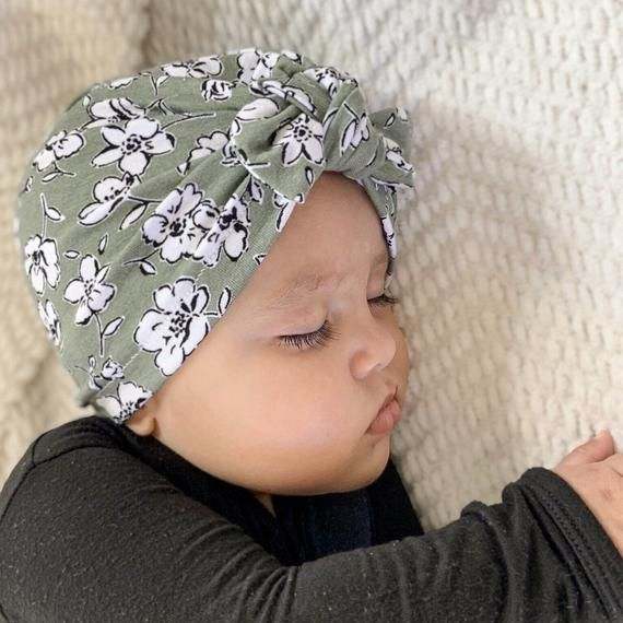 Sage in Floral Hat: (soft) w/ top knot, baby turban hat, baby turban, green newborn hat, baby hat, i #premiebabyhats