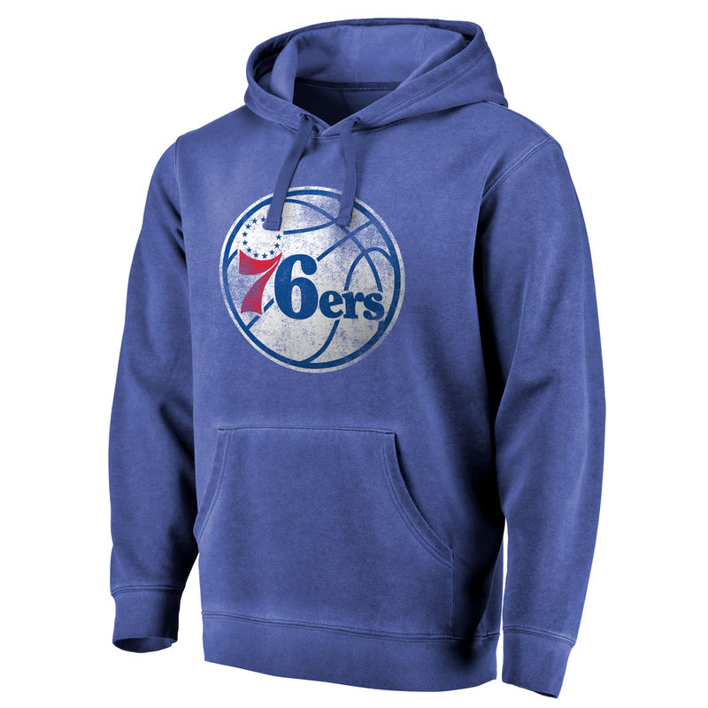 084957d57 Men s Fanatics Branded Royal Philadelphia 76ers Distressed Logo Shadow  Washed Pullover Hoodie