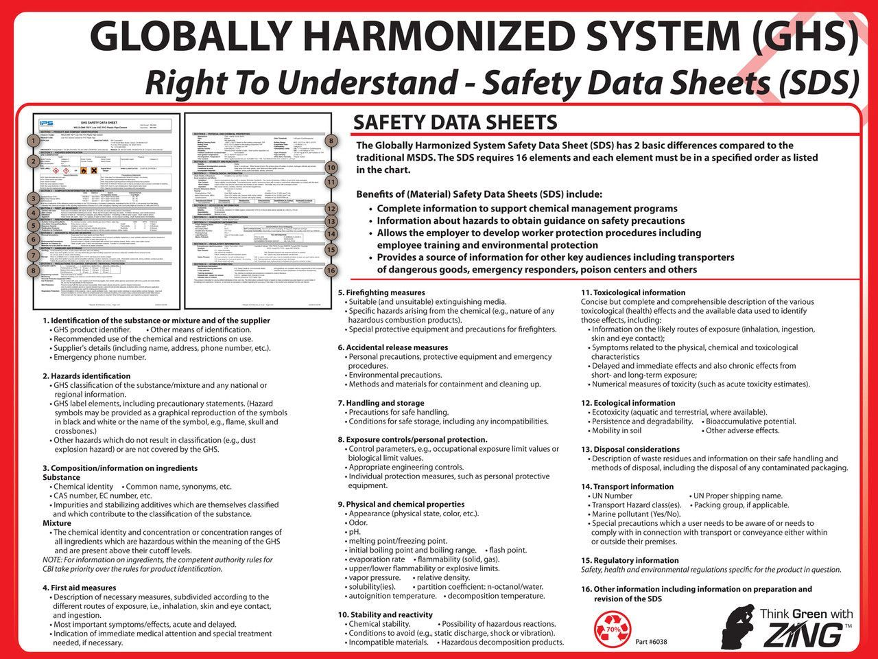 ZING 6038 Eco GHS Poster, Safety Data Sheet Format, 18HX24W | Products