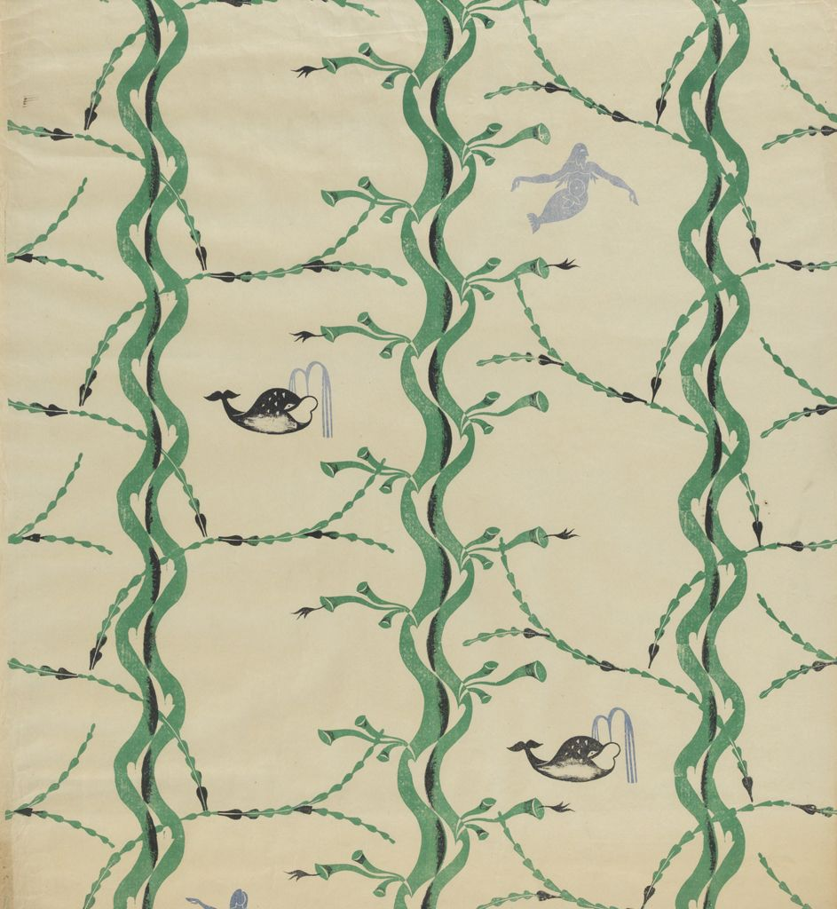 Edward Bawden (1903-1989). Mermaid and Whale. Wallpaper pattern.