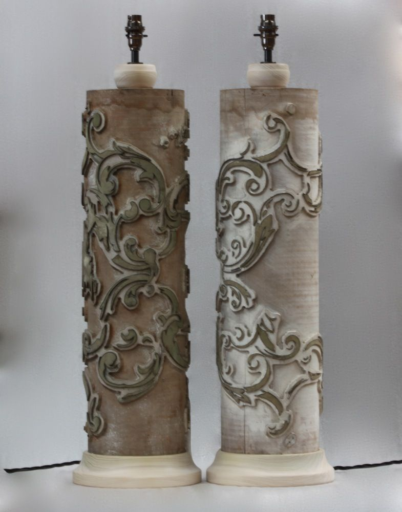 Original Lamps original antique wallpaper printing rollers converted into