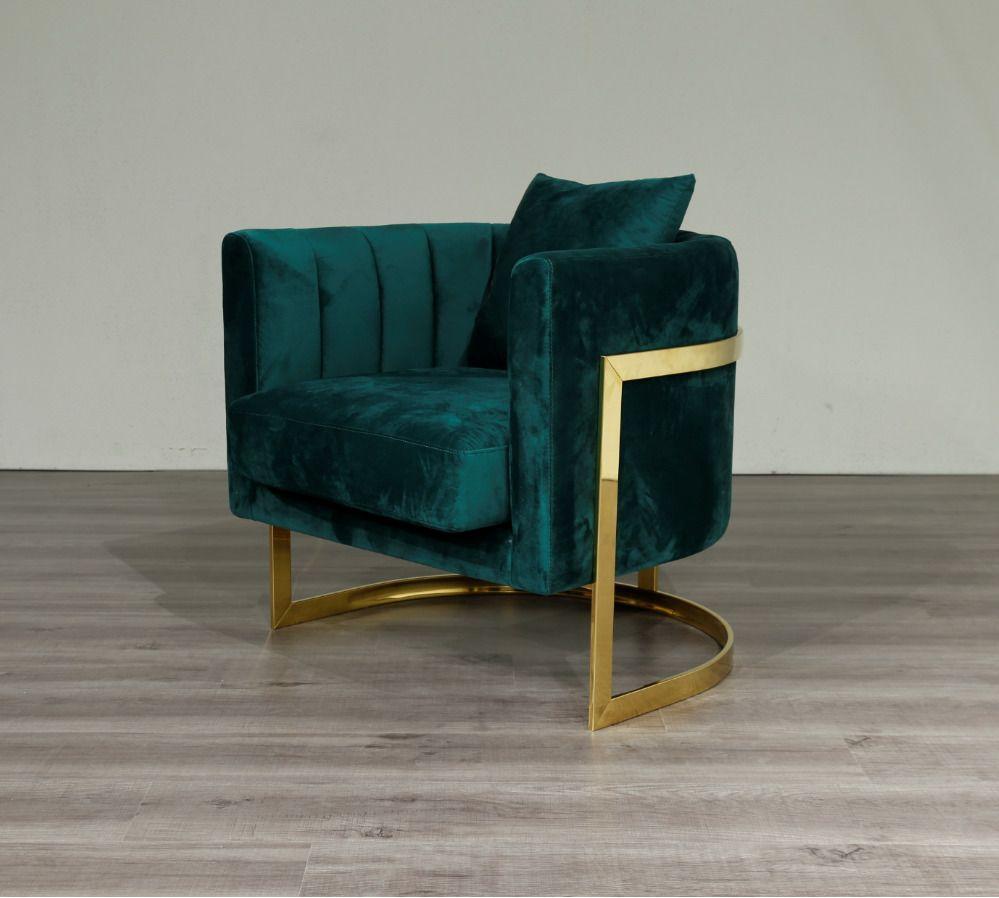 Emerald Green Velvet Gold Frame Arm Chair Accent Chair Free Uk