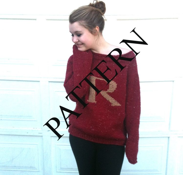 983c6fcf5f PATTERN - PATTERN - PATTERN - Red Sweater with Letter R - This Listing is  for the Pattern Only