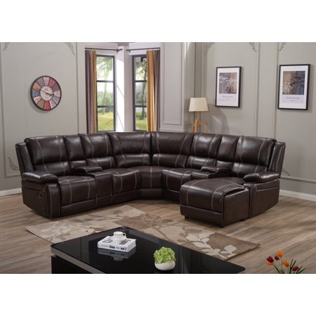 Best 7Pc Luxury Bonded Leather Reclining Sectional Sofa Set 400 x 300