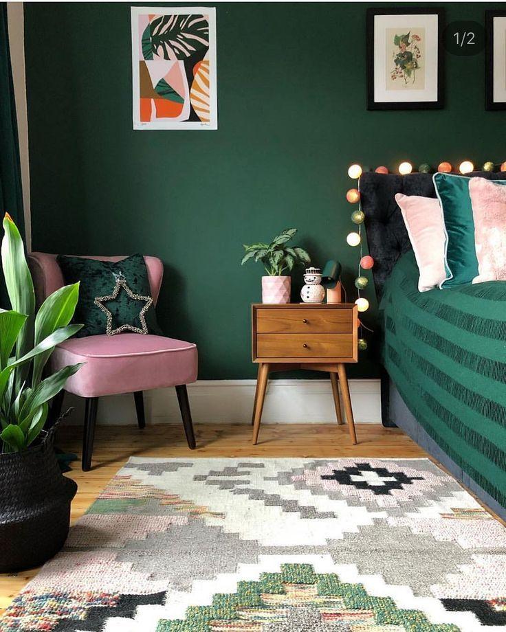 Schlafzimmer, Grün, Dunkelgrün, Pink, Rosa, Retro