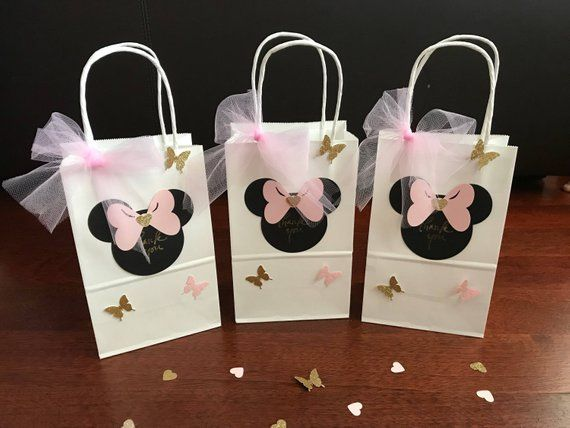 10 Minnie Mouse Goo Favor Bags Pink Gold Black Red