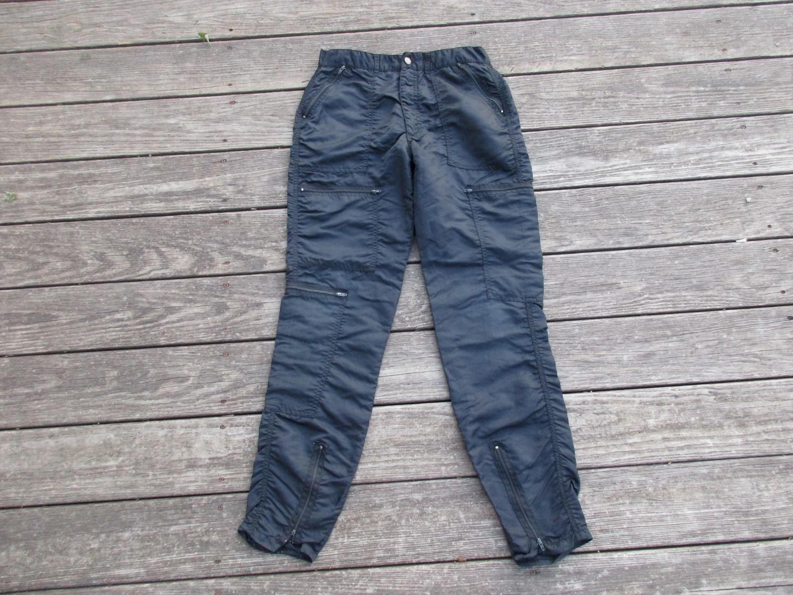 vintage 80 s black parachute pants bugle boy countdown wet look
