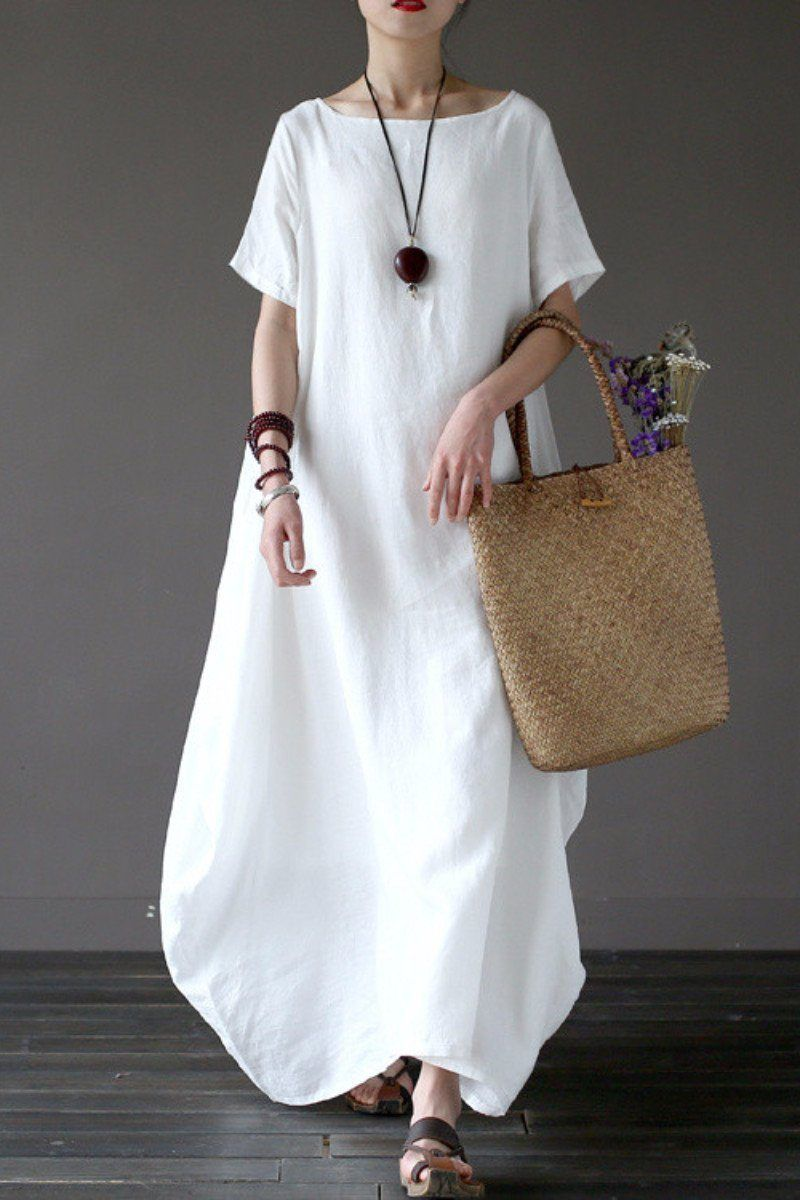 99cdc076d1f89 White Casual Linen Plus Size Summer Maxi Dresses 1640 | FantasyLinen ...