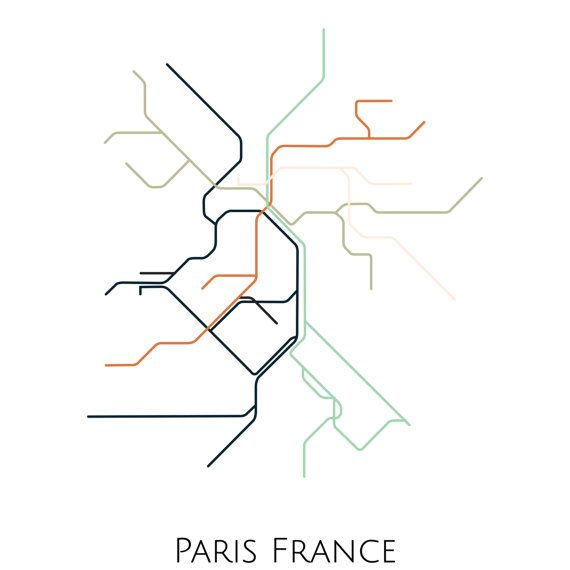 France Subway Map.Paris Metro Map Transit Map Paris France Art Paris Map Art