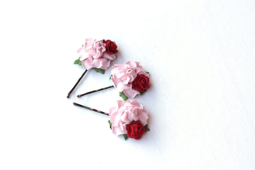 sweet rosie hair pins / woodland, vintage, bridal up-do headpiece, hair accessory, garden wedding, bobby pin set. $18.00, via Etsy.