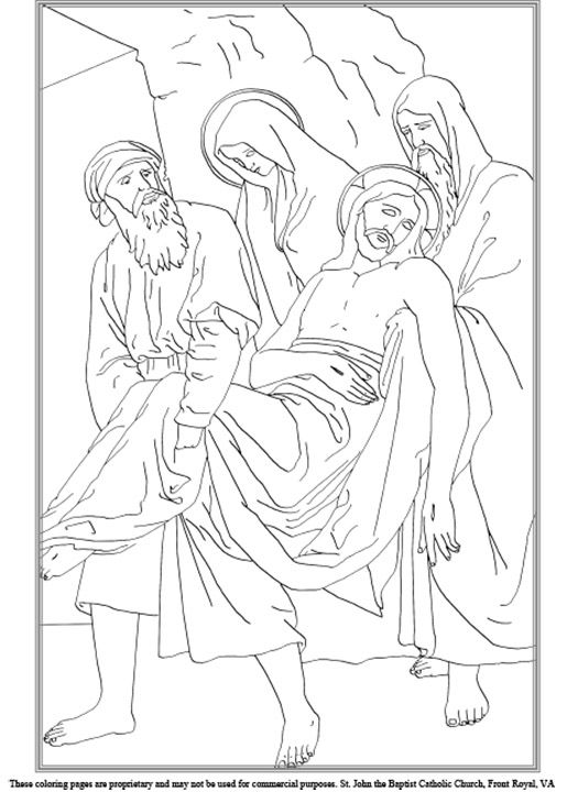 Fourteenth Station Of The Cross Coloring Page Church School