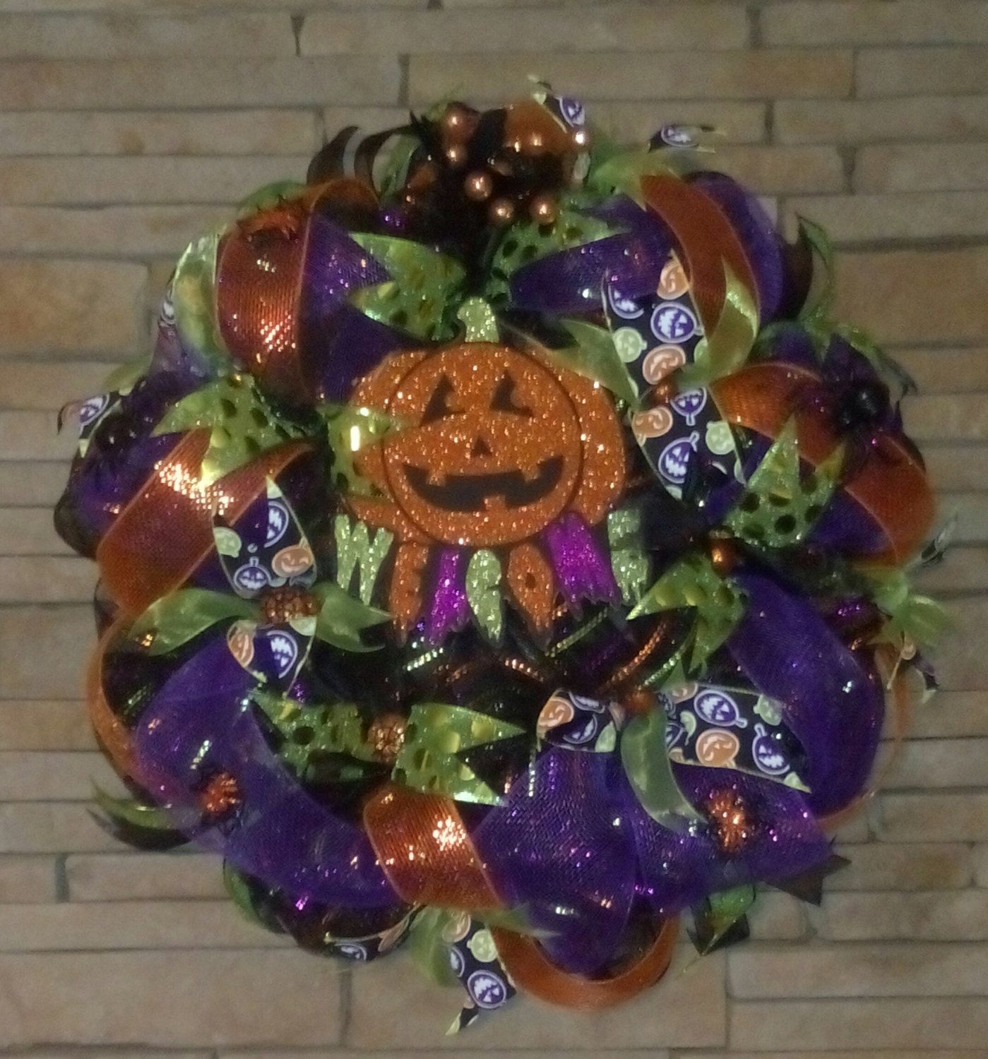 SALE-Halloween Glow In The Dark Wreath, Halloween Decor, Large Deco - Minnie Mouse Halloween Decorations