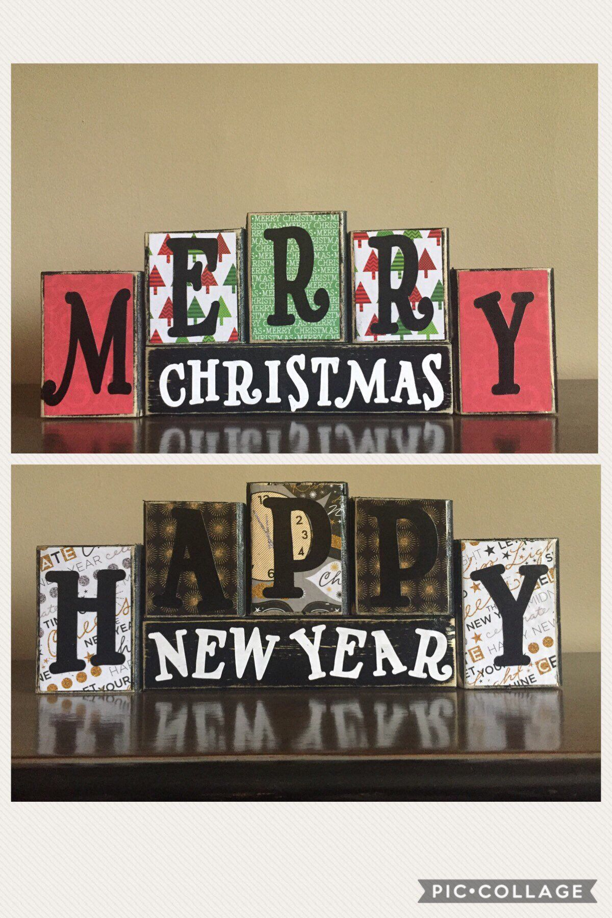 REVERSIBLE Wood Happy New Year sign, Wood Merry Christmas sign ...