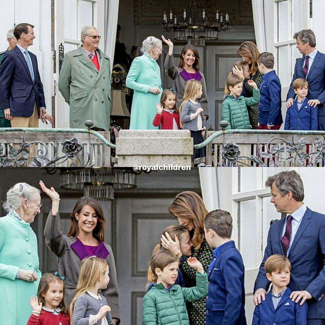The Danish royal family celebrated Queen Margrethe's 77th birthday on the balcony of Marselisborg Palace today . #QueenMargrethe #CrownPrinceFrederik #CrownPrincessMary #PrinceChristian #PrincessIsabella #PrinceVincent #PrincessJosephine #PrinceJoachim #PrincessMarie #PrinceHenrik #PrincessAthena #danishroyalfamily #danishroyals #royals #royalchildren