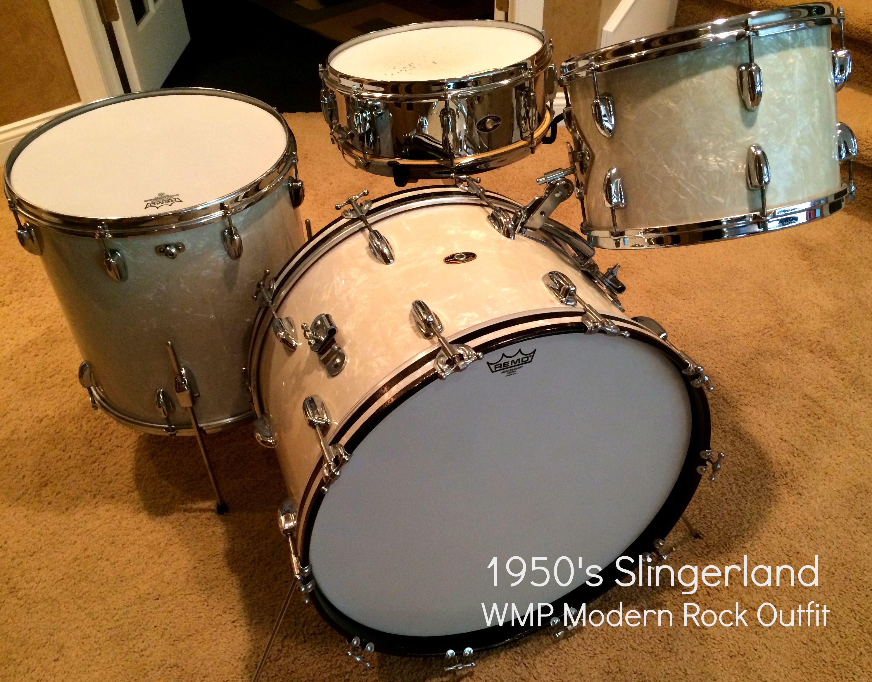 Late 50's Slingerland Modern Rock Outfit In Classic White Marine Pearl  Buddyrific! Vintage Drumsrock