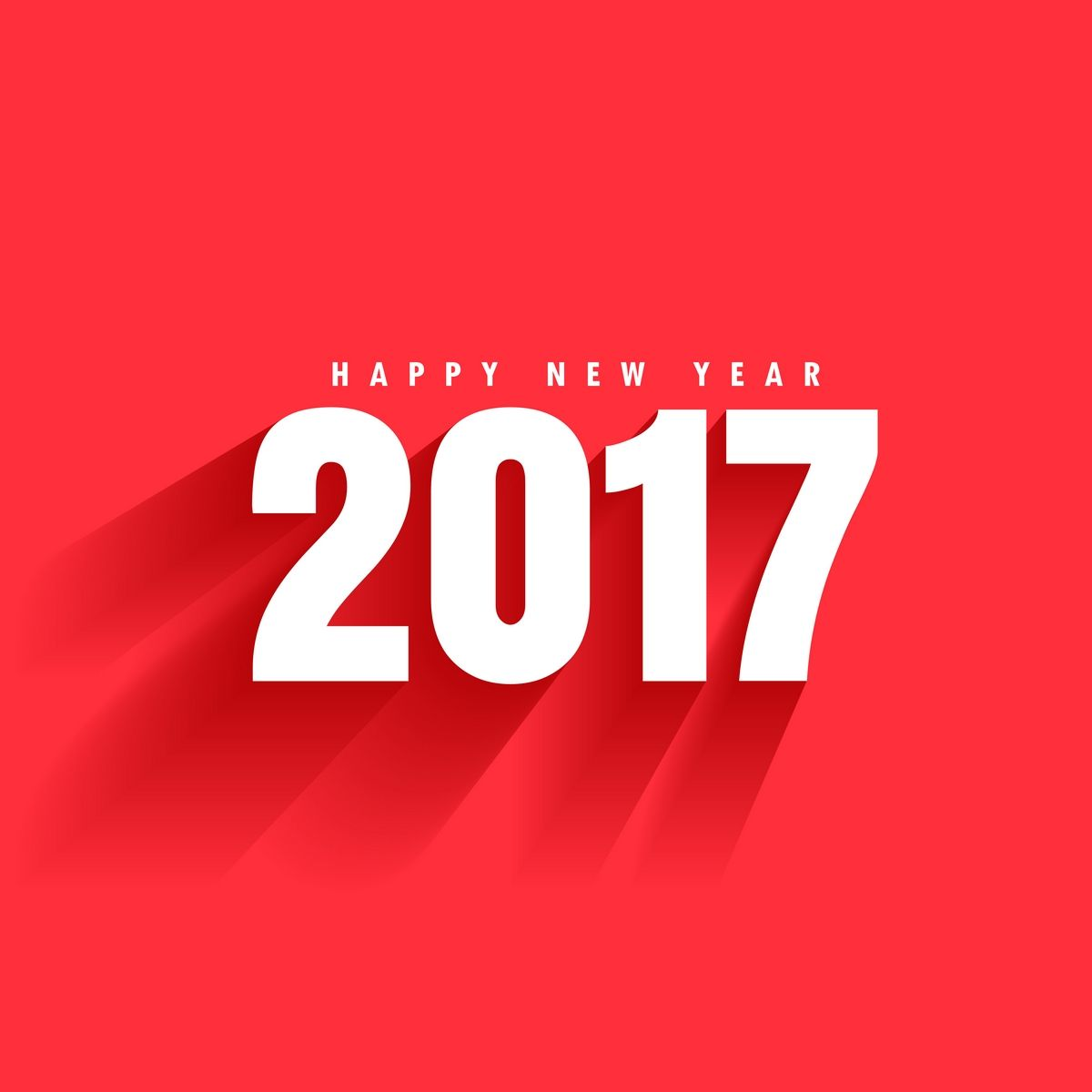 Simple White Happy New Year 2017 Wallpaper with red background