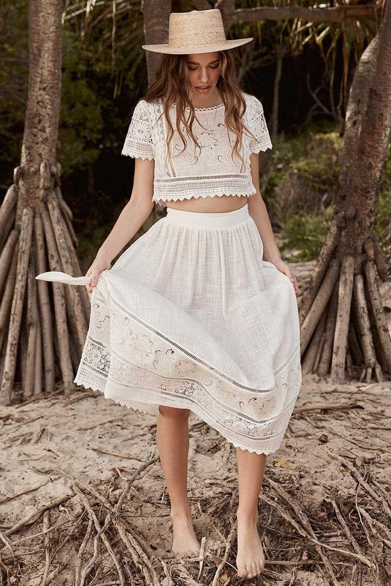 Lace Breeze Crop Top & Skirt Set   Crop top skirt set, Lace suit ...