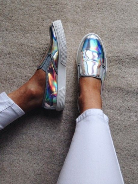 shoes silver tumblr women sneakers holographic metallic flourescent vans slip on shoes nice cute loafers step in cool white plimsolls fashion skaters skater shoes slippers iridescent metalic sneakers metallic shoes slip on
