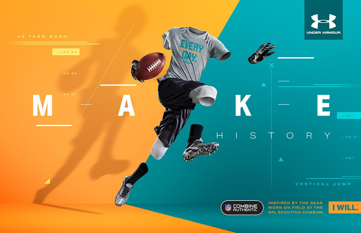 habla ordenar Equipo  Under Armour NFL Combine on Behance | Sports graphic design, Banner design,  Sports advertising