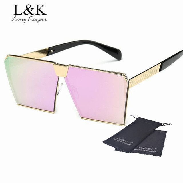 104382a8c1 2017 New Square Sunglasses Men Women Luxury Quality Sunglasses Brand Design  Mirror Sun glasses Flat Top Metal Alloy Eyeglasses