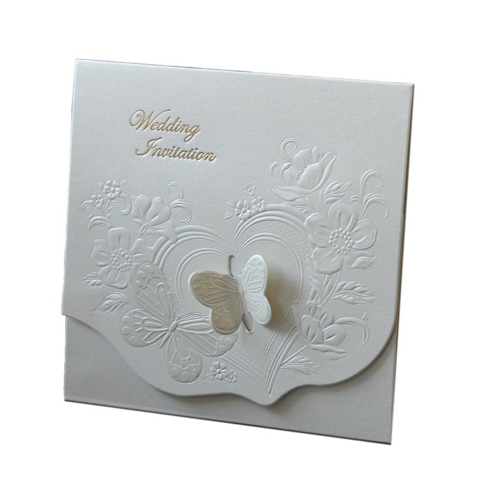 Amazon.com: DIY 3D Butterfly Embossed Flower Wedding Invitation ...