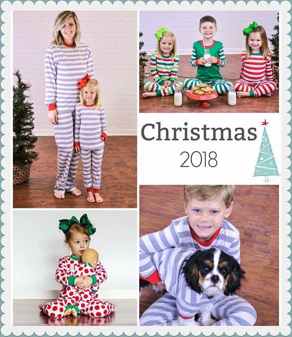Christmas Pajamas Preorder- Red and White stripe Christmas Pjs- Kids