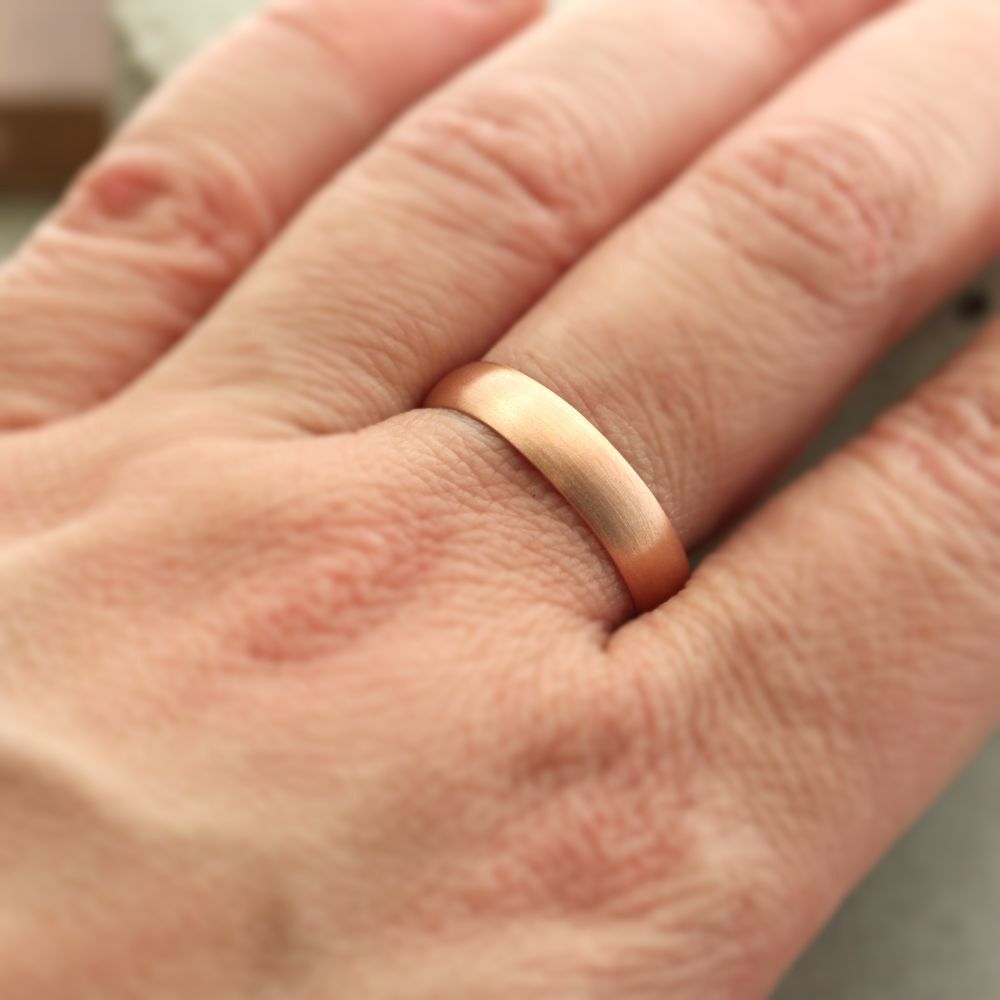 Men S Wedding Band 5mm Half Round 14k Recycled Rose Gold Wedding Ring Pink Gold Ring Mad Pink Wedding Rings Wedding Rings Rose Gold Rose Gold Diamond Band