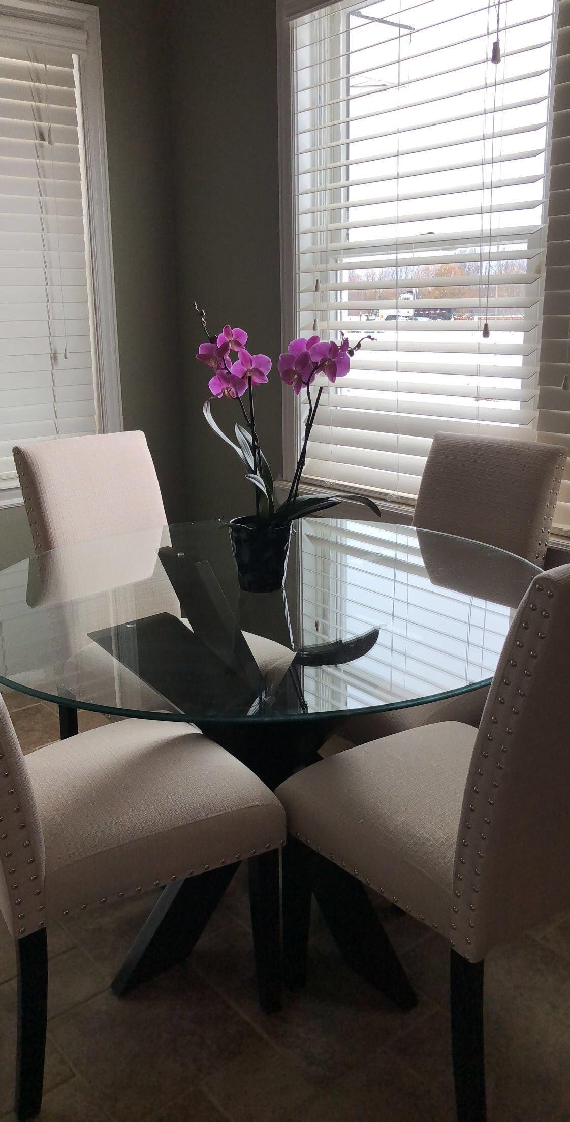Pier 1 Imports Simon X Espresso Orchids Kitchen Round Glass Table