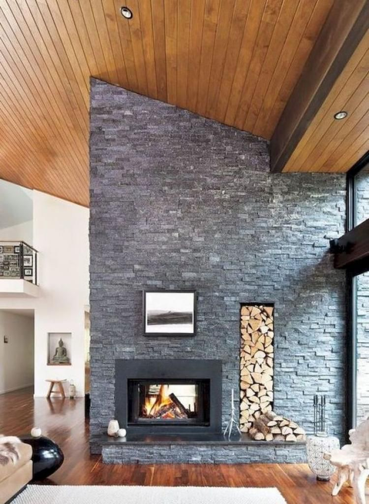 60 Mid Century Modern Living Room Decor Inspirations Modern Stone Fireplace Living Room Decor Inspiration Living Room Decor Modern