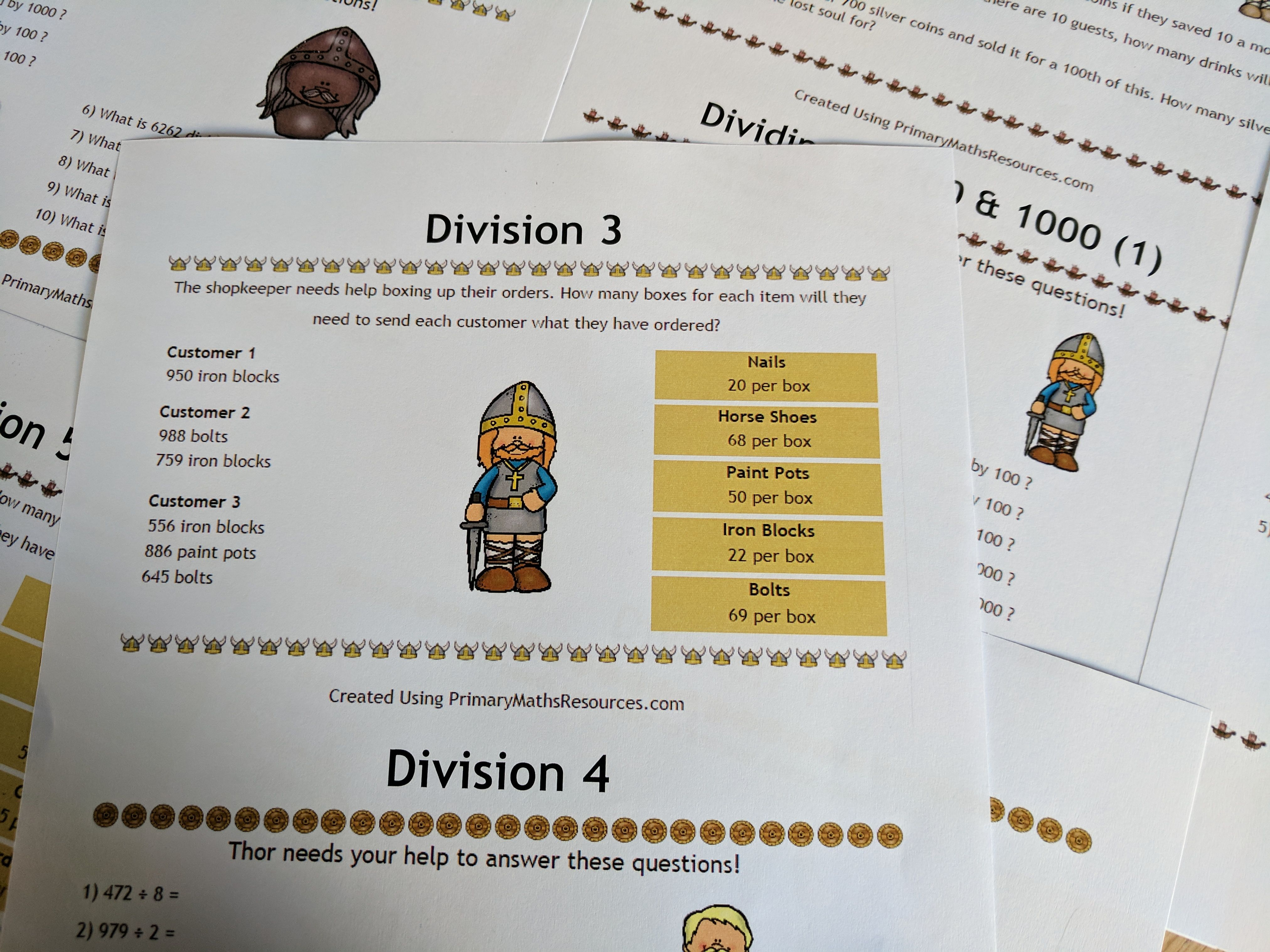 Fun Viking Themed Division Problems For 4th Grade Classes