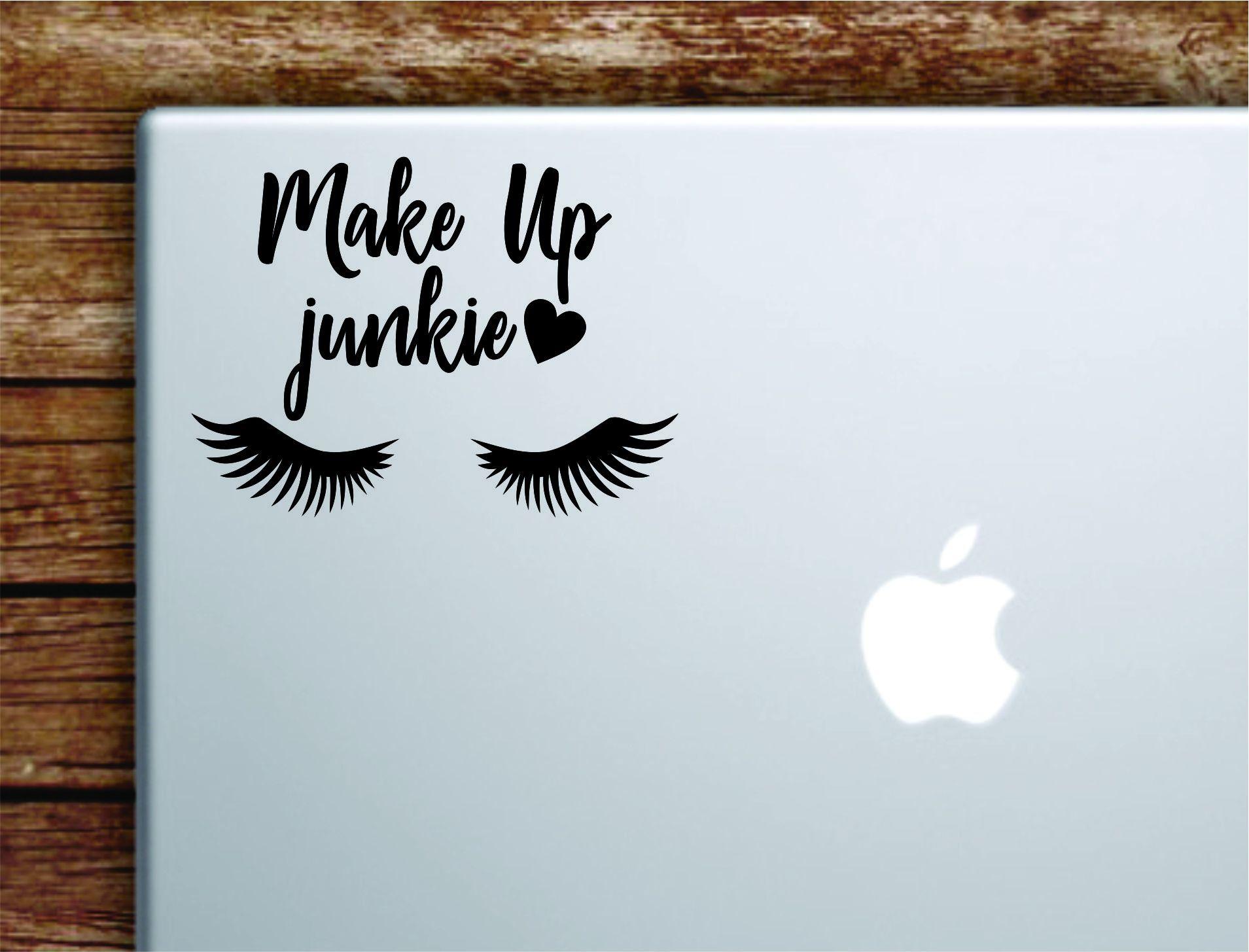 Make Up Junkie Laptop Decal Sticker Vinyl Art Quote Macbook Apple Decor Car Window Truck Girls Beauty Lashes Teen - orange