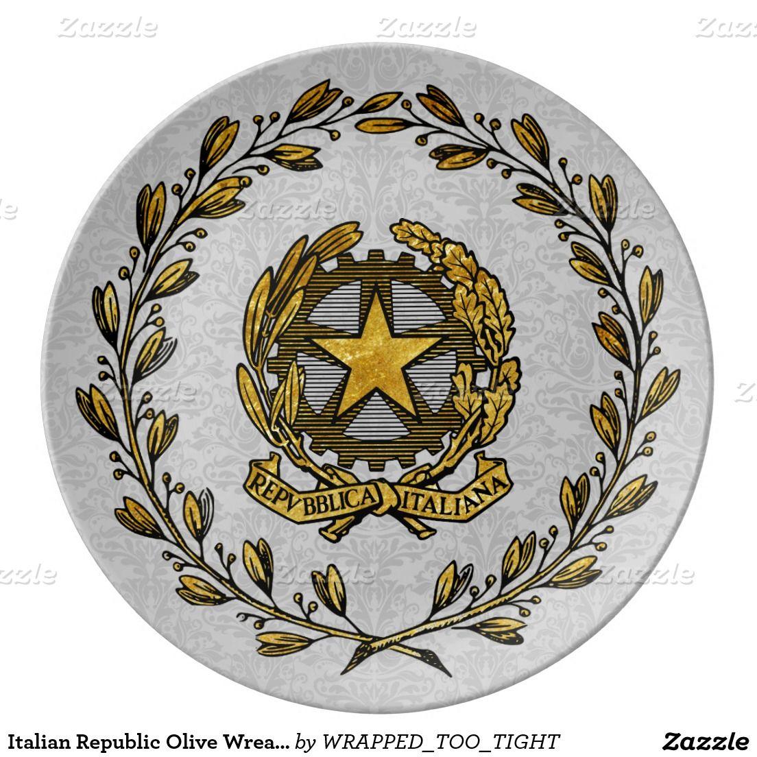Italian Republic Olive Wreath Gold Personalize Porcelain Plate  sc 1 st  Pinterest & Italian Republic Olive Wreath Gold Personalize Porcelain Plate ...