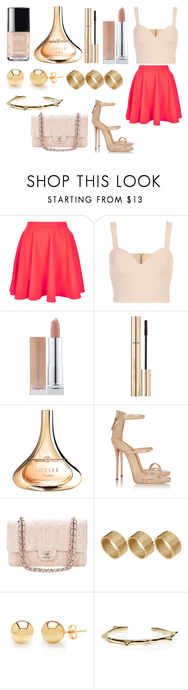 """Akgl"" by southerncomfort ❤ liked on Polyvore featuring Topshop, River Island, Dolce&Gabbana, Guerlain, Giuseppe Zanotti, Chanel, ASOS, Mondevio and Mara Carrizo Scalise"
