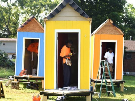 Homeless Man Jumps For Joy Over New Tiny House Homeless Housing Micro House Homeless People