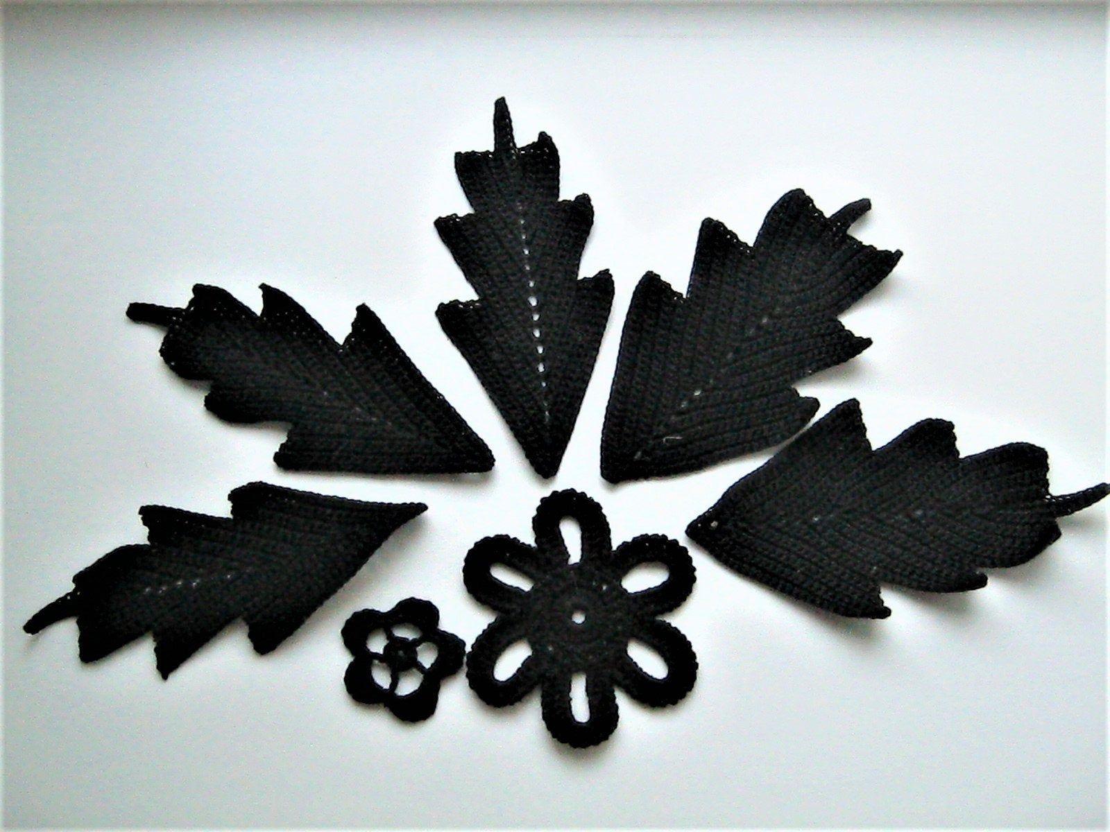Crochet black flower and leaves motives, black flower and leaves applique, Irish lace cotton dentelle, scrapbook crochet elements #crochetelements